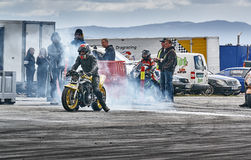 Motorcycle Racing at the start Stock Photos