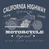Motorcycle Racing Typography, California Highway Royalty Free Stock Photos
