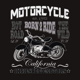 Motorcycle Racing Typography, California Motors Royalty Free Stock Photography