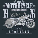 Motorcycle Racing Typography Graphics. Brooklyn Stock Images