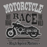 Motorcycle Racing Typography Graphics. California Royalty Free Stock Photography