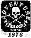 Motorcycle Racing Typography Graphics and Poster. Skull and Old. School bike. T-shirt Design, vector illustration art Royalty Free Stock Image