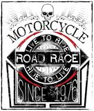 Motorcycle Racing Typography Graphics and Poster. Skull and Old. School bike. T-shirt Design, vector illustration art style Royalty Free Stock Photos