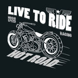 Motorcycle Racing Typography Graphics. T-shirt Royalty Free Stock Images
