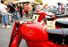 Motorcycle rally brand Moto Guzzi. Motoraduno is a moment of aggregation of motorbike enthusiasts who can have both tourist and sport features. The main purpose Royalty Free Stock Image