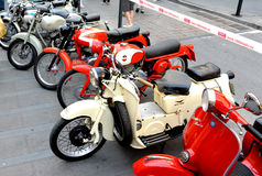 Motorcycle rally brand Moto Guzzi. Motoraduno is a moment of aggregation of motorbike enthusiasts who can have both tourist and sport features. The main purpose Stock Photos