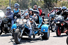 Motorcycle rally. Motoraduno is a moment of aggregation of motorbike enthusiasts who can have both tourist and sport features. The main purpose of the event is Royalty Free Stock Photography