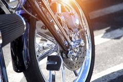 Motorcycle ready to ride into sunset Stock Image