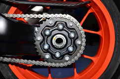 Motorcycle rear chain. Royalty Free Stock Image