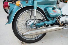 Motorcycle rear wheel, tire, brake Royalty Free Stock Photography