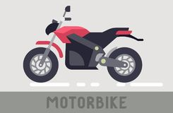 Motorcycle. Red and Black Motorcycle in Flat Style royalty free illustration