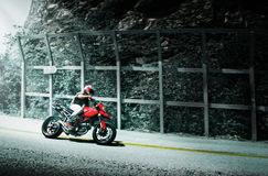 Motorcycle. Red motorcycle on a road Royalty Free Stock Images