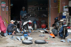 Motorcycle repair shop, Vietnam Royalty Free Stock Image