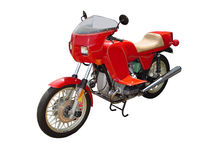 Motorcycle res. This is a picture of a red motorbike isolated on white Royalty Free Stock Photography