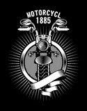 Motorcycle ribbon emblem Royalty Free Stock Image