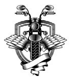 Motorcycle ribbon emblem Royalty Free Stock Photo