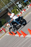 Motorcycle ride. First steps riding a motorcycle Royalty Free Stock Image