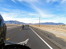 Motorcycle ride. In the desert stock image