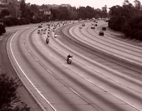 Motorcycle ride on a freeway Royalty Free Stock Photo