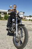 Motorcycle Rider. On a chopper bike Royalty Free Stock Images