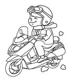 Motorcycle rider coloring page Stock Images