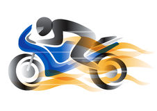 Motorcycle rider with flames. Royalty Free Stock Image