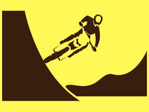 Motorcycle Rider Freeride. Racer freestyle jump trick Vector Illustration Royalty Free Stock Photography