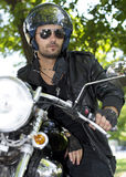 Motorcycle rider with helmet Royalty Free Stock Photos