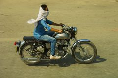 Motorcycle rider India Stock Photography