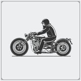 Motorcycle rider with racer helmet on motorcycle. Emblem of bikers club. Vintage style. Monochrome design Stock Image