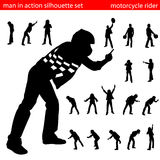 Motorcycle rider silhouette set Stock Images