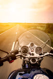 Motorcycle rider view Royalty Free Stock Images
