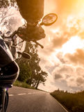 Motorcycle rider view Stock Images