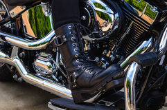 Motorcycle Riders Bikers Womens Boot Royalty Free Stock Photography
