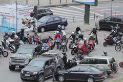Motorcycle riders gathering. A motorcycle riders enthusiasts gathering in Bucharest, Romania Royalty Free Stock Photography