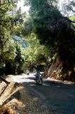 Motorcycle riding. Motorcycle on winding road Royalty Free Stock Photography
