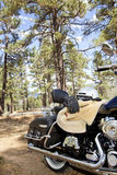 Motorcycle with riding gloves and jacket in forest setting Stock Images