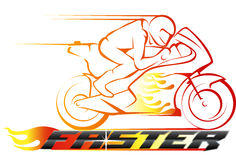 Motorcycle riding style. Vector abstract, motor racing on fire as logo or symbol racing event Stock Images