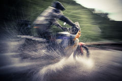 Motorcycle River Crossing Royalty Free Stock Photos