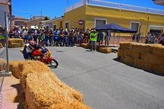 Motorcycle Road Racing. A Moto GP bike cornering during the Algueña motorcycle road race in Spain Stock Image