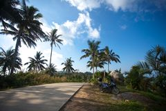 Motorcycle at road on top mountains of Koh Samui Stock Photo