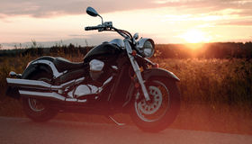 Motorcycle on the roadside Royalty Free Stock Photos