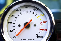 Motorcycle rpm gauge. Motorcycle dashboard, tachometer rpm indicator gauge Stock Photos