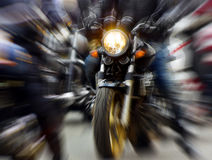 Motorcycle. Rushing at city street, blurred motion royalty free stock image