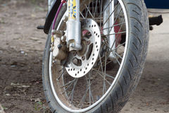 Motorcycle's wheel. Motorcycle's front wheel with tire Royalty Free Stock Photo