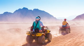 Motorcycle safari Egypt. Motorcycle safari in land Egypt. People riding travel. Beautiful holiday background. Extreme hobby games.  Speed achievement tracking Stock Photos