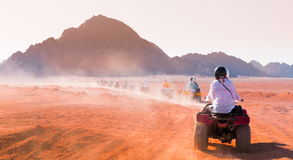 Motorcycle safari Egypt. Motorcycle safari in land Egypt. People riding travel. Beautiful holiday background. Extreme hobby games.  Speed achievement tracking Royalty Free Stock Photography