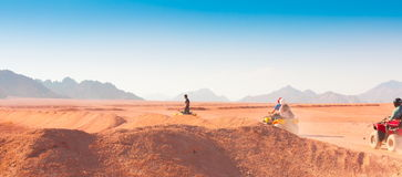 Motorcycle safari Egypt. Motorcycle safari in land Egypt. People riding travel. Beautiful holiday background. Extreme hobby games.  Speed achievement tracking Royalty Free Stock Photo