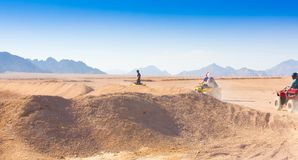 Motorcycle safari Egypt. Motorcycle safari in the land Egypt. People travel. Beautiful  holiday background. Extreme hobby games.  Speed achievement tracking Stock Photo