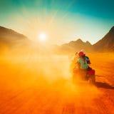 Motorcycle safari egypt. People travel beautiful  holiday background, extreme hobby games  speed achievement tracking, sinai sharm desert Royalty Free Stock Photography